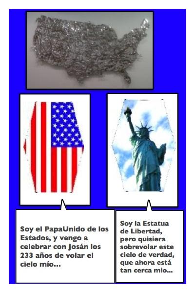 El Papalote Bandera de los Estados Unidos, en su 233 aniversario de Independencia, creado por Piero y Josán, con historieta de Josán Caballero.