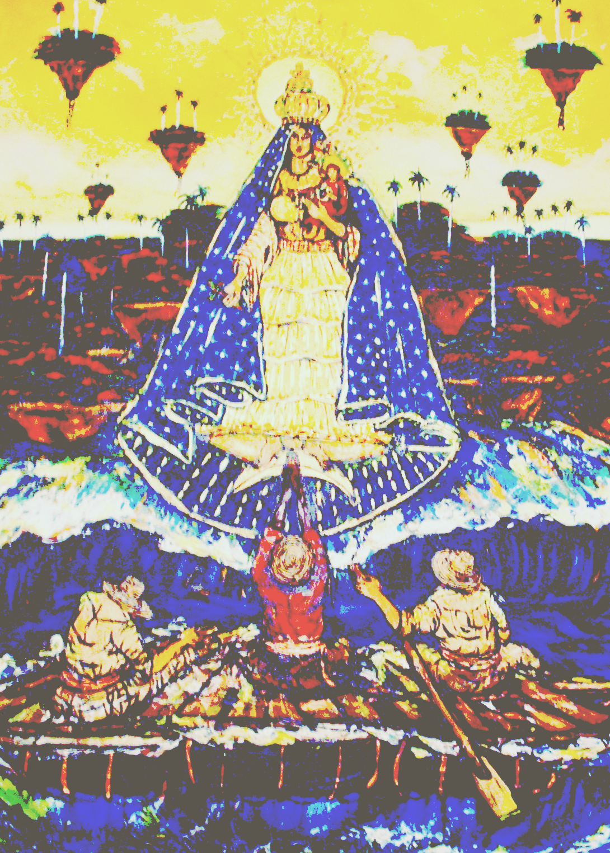 Cachita de los balseros, óleo de Ignacio Pérez Vázquez, para la Expo de Poesía Mural ISLA SOLA, con el poeta José Antonio Gutiérrez Caballero, en el 2006.