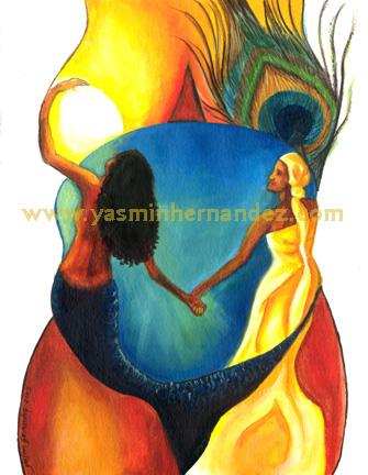 Pintura de Yemayá y Ochún...