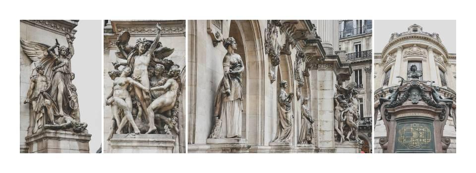 Esculturas en la fachada principal de la Ópera de París