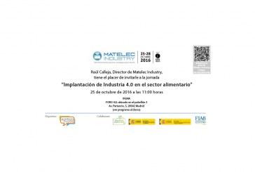 """Día 25 de octubre. Jornada """"Implantación de Industria 4.0 en el sector alimentario"""". Madrid"""