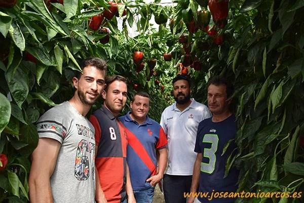 Saúl Fernández, Joaquín Torres, Paco Ibáñez, Dani Torres y Manuel Madrid. Jóvenes agricultores de El Ejido.