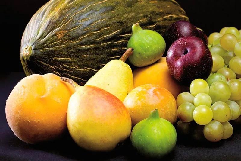 Bodegón de frutas.