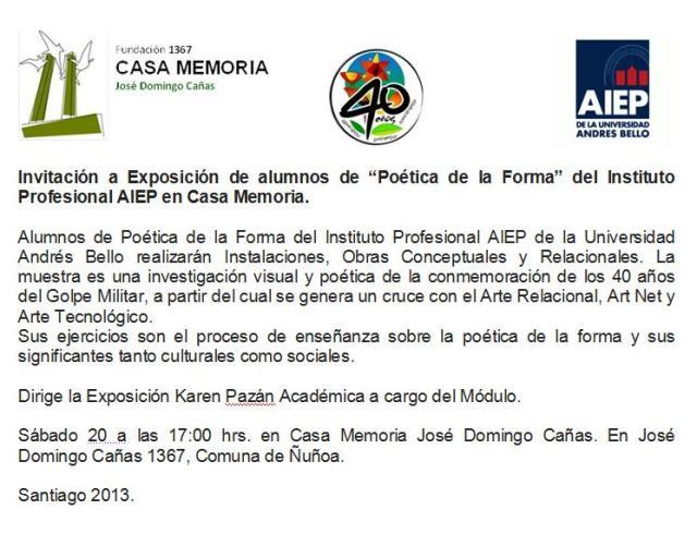 Invitación Exposición en Casa Memoria