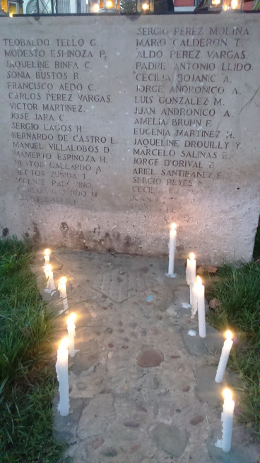 Los nombres de los compañeros detenidos desaparecidos que estuvieron en el ex cuartel Ollagüe.