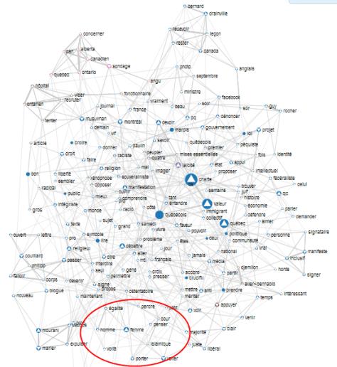 Carte lexicale du flux #charte - en français - sur Twitter