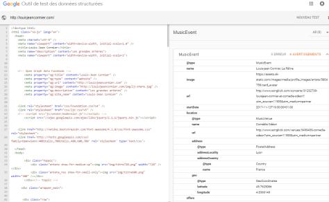 Google: validation des données structurées: page d'accueil de Louis-Jean Cormier.