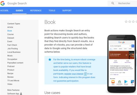 Guide des données structurées de Google pour documenter des livres.