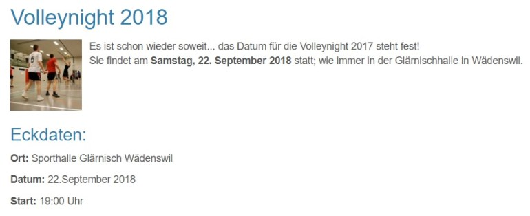 Au-Volleynight Eckdaten