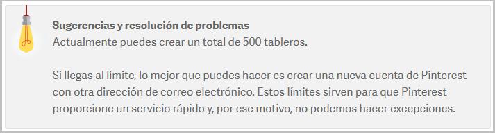 Total máximo de 500 tableros en Pinterest