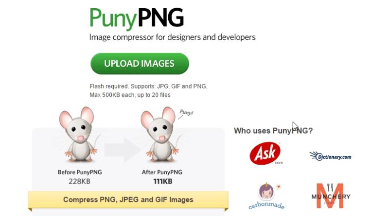 PunyPNG - Herramienta para comprimir fotos
