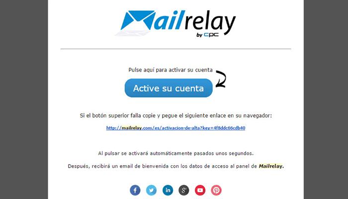 Email para confirmar la creación de nuestra cuenta en Mailrelay