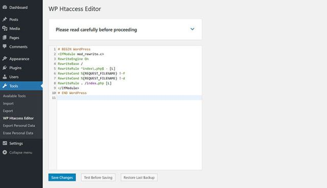 Htaccess Editor - Safely Edit Htaccess File