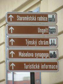 Praga, indicador de sitios de interés.
