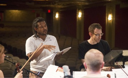 In rehearsal with Alarm Will Sound. Conductor Alan Pierson next to me.