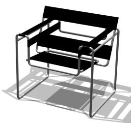 La silla B3, más conocida como Silla Wassily, diseñada en 1925. Diseño de Marcel Breuer.