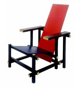 Red & Blue Chair de Guerrit Rietveld.