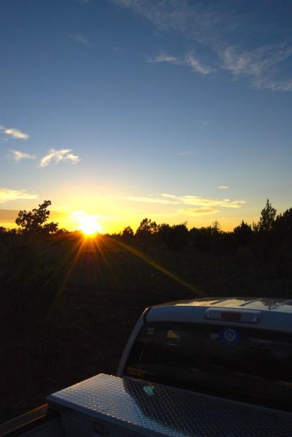 Sun setting over me in Northern Arizona