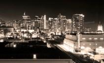 Sepia black and white downtown