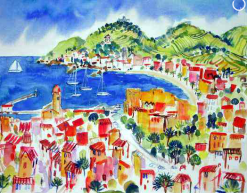 A52: The Roof Tops of Collioure | £375 l Gouache l 32 x 39 cms