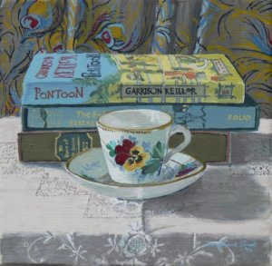 """Pansy Cup and Liberty Shawl   oil on canvas  8"""" x 8"""""""