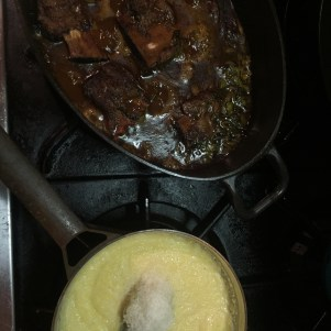 Long Braised short ribs and polenta