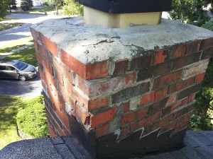 Deteriorated chimney and crown