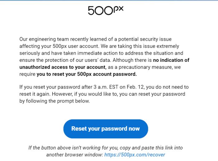 500PX Warning