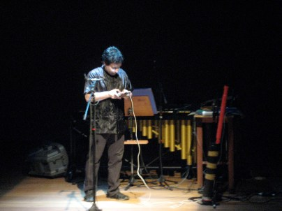 Percussionist Fernando Rocha performing on the Hyper-Kalimba.