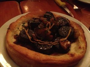 The blood sausage tart.  It's an acquired taste - which, yes, I've acquired.