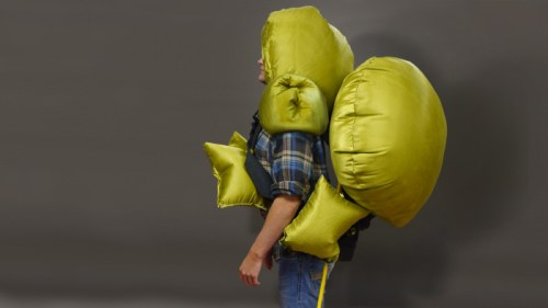Personal air bag system.  (http://www.coroflot.com/MatthewTucker/Free-Fall-Tool-Harness-and-Personal-Airbag-System)