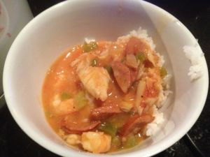 The tasty gumbo included chorizo, shrimp, and crab.
