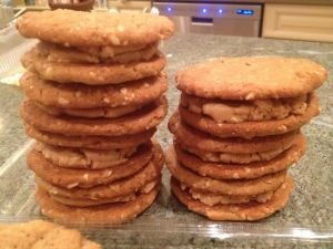 Despite the fact that she was battling a terrible cold, Akemi took the time to make peanut butter sandwich cookies.