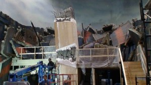 The former village set is transformed into a ruined facility on what we used to call The FX Stage.