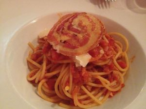 The Bucatini topped with pancetta.  Instead of clinging to the pasta, the sauce ended up pooling at the bottom of the plate.