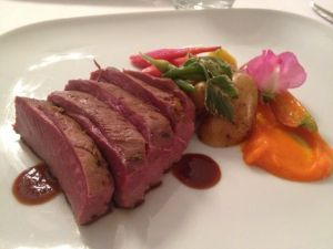 Seared Theisson Farms Muscovy Duck Breast with carrot puree and farmer's vegetables.  Excellent.