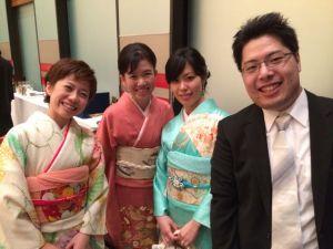 The bride's kindergarten friends, Akemi, and Haruhiko.