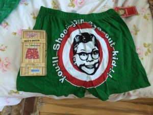 A Christmas Story-themed boxers.