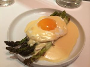 Asparagus with hollandaise.  Oh, and an egg!
