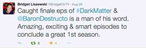 August 28, 2015: The Dark Matter Season One Finale!  9 Pm Tonight!
