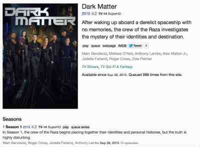October 2, 2015: Now On Netflix!  Dark Matter!
