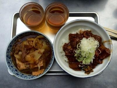 "Nikki-dofu (left) and ""guts bowl"" (right)"