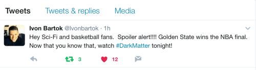 June 9, 2017: Dark Matter Season 3 Double-episode Premiere, Tonight At 8:00 P.m. On Syfy And Space Channel!