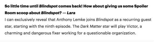 October 26, 2017: Dark Matter's Anthony Lemke Joins Blindspot!