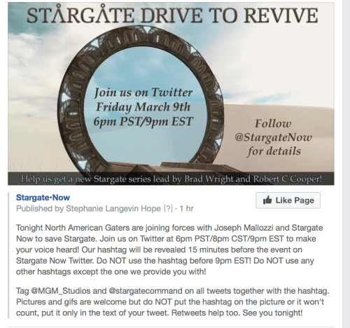 March 9, 2018: Tonight's The Night Stargate Fans Storm Twitter!