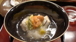 Steamed turnip, tilefish, and sea urchin