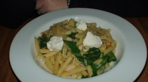 Penne with zucca, ricotta, white bean, and chili