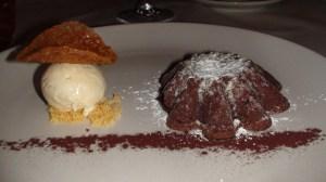 Warm Chocolate Cake with Vanilla Ice Cream and Tuile