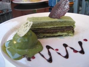 Green Tea Opera Cake served with Green Tea Ice Cream