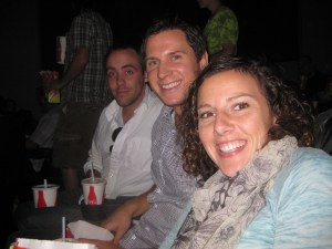 "Lawren, Ashleigh's guy, and Ashleigh.  Before leaving the office on Friday, I asked Ashleigh to text me a reminder about the matinee.  About an hour before the matinee, having received no reminder text, I texted her: ""Hey, am I supposed to be somewhere today?""  A moment later, I received her response: ""No.  It's Saturday.  You're free.""  Later, I received a follow-up text: ""Oh shoot.  The premiere is today.  I hope you can make it in time.""  I got it about five minutes after I'd taken my seat beside her in the theater."